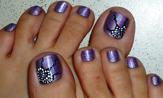 Erfly Wings Holographic Toe Nail Design