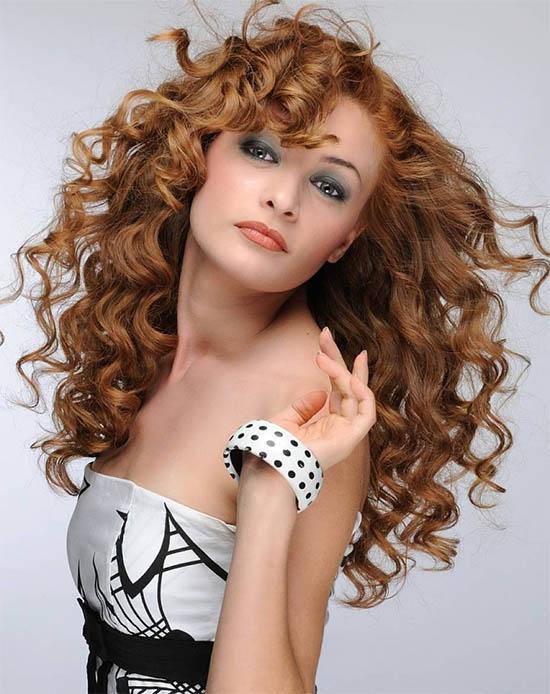 Curly Layered Hair Bangs