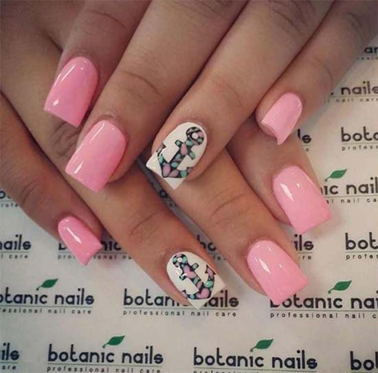 Cute Pink Nail Designs With Anchor: - Amazing Anchor Nail Arts - 2018 Best Anchor Nail Designs